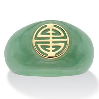 """10K Yellow Gold """"Longevity"""" Genuine Green Jade Ring (8mm)"""