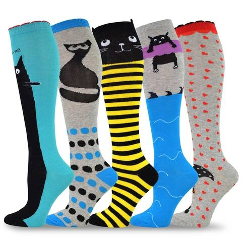 TeeHee Novelty Cotton Knee High Fun Socks 5-Pack Women (Cats)