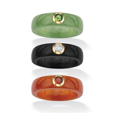 10K Gold 3-Piece Sert Peridot, Garnet and White Topaz Ring Set in Jade