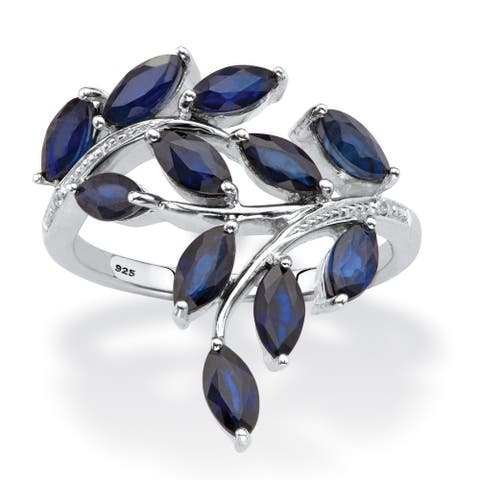 Platinum over Sterling Silver Sapphire and Diamond Accent Ring