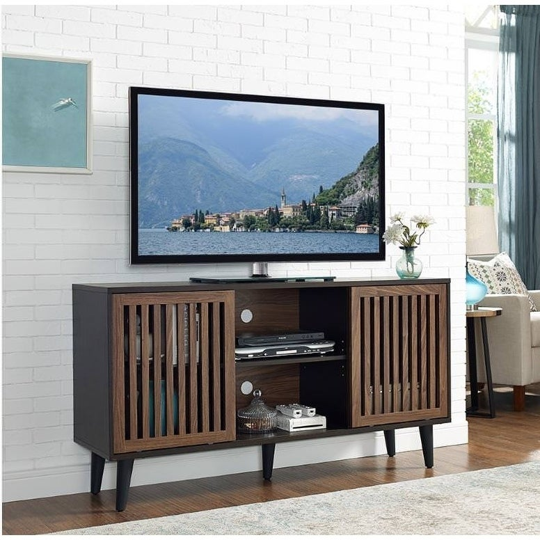 Shop Home Source Brockway 56 Inch Tv Console With Slatted Sliding Doors 30 Inches X 56 2 Inches X 18 Inches Overstock 25673872