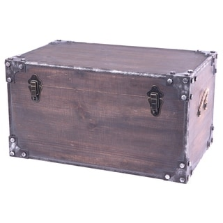 Distressed Wooden Vintage Industrial Style Decorative Trunk