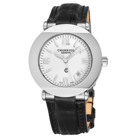Charriol Men's CCR38.191.2380 'Columbus' White Dial Black Leather Strap Quartz Watch