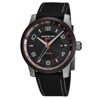 Mont Blanc Men's 115080 'Timewalker' Black Dial Black Carbon Fiber Leather Strap GMT Automatic Watch
