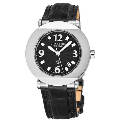 Charriol Men's CCR38.191.2387 'Columbus' Black Dial Black Leather Strap Quartz Watch