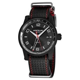 Mont Blanc Men's 115360 'Timewalker' Black Dial Black Carbon Fiber Leather Strap GMT Automatic Watch