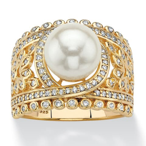 Gold over Sterling Silver Simulated Pearl and Cubic Zirconia Ring - White