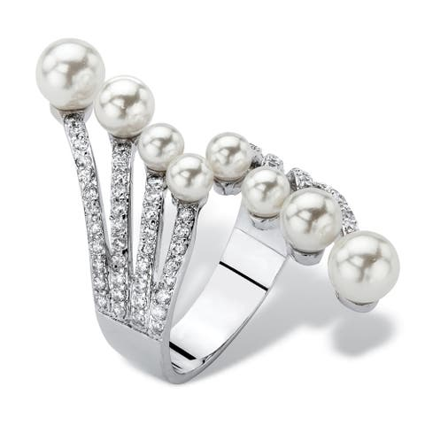 Silvertone Simulated Pearl and Cubic Zirconia Bypass Ring (.8 cttw) - White