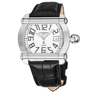 Charriol Men's CCHATXL.361.HATX002 'Actor' Silver Dial Black Leather Strap Automatic Watch