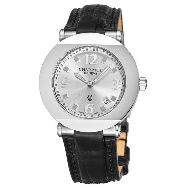 Charriol Men's CCR38.191.2382 'Columbus' Silver Dial Black Leather Strap Quartz Watch. Opens flyout.