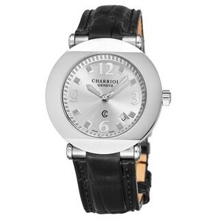 Charriol Men's CCR38.191.2382 'Columbus' Silver Dial Black Leather Strap Quartz Watch