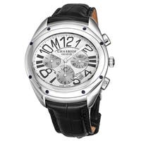 Charriol Men's FC.361.FC03 'The Force' Silver Dial Black Leather Strap Chronograph Automatic Watch