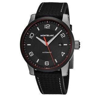 Mont Blanc Men's 115079 'Timewalker' Black Dial Black Carbon Fiber Leather Strap Automatic Watch