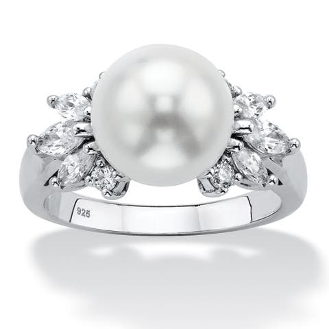 Sterling Silver Simulated Pearl and Cubic Zirconia Ring (7/8 cttw) - White
