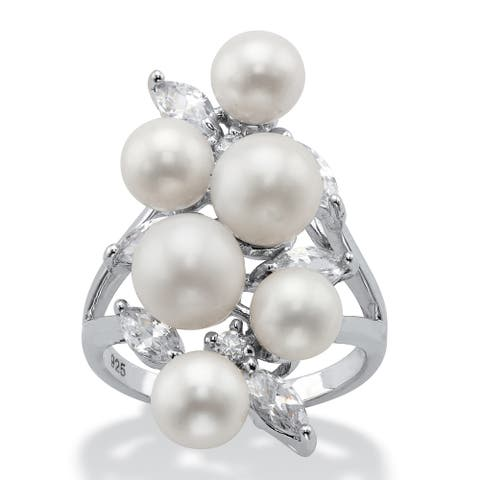 Sterling Silver Simulated Pearl and Cubic Zirconia Cluster Ring - White