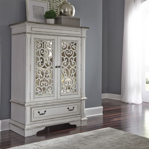 The Gray Barn Bevers Bay Antique White Mirrored Door Chest