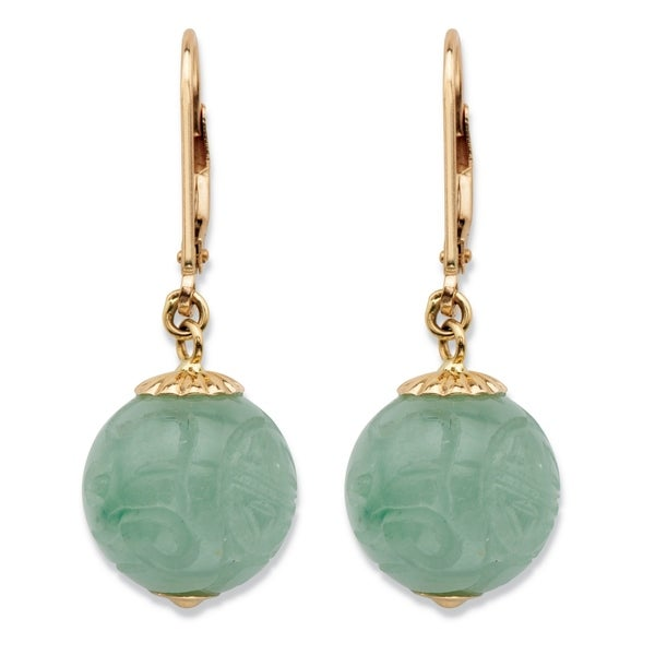 00bff722fe6 Shop 10K Yellow Gold Drop Earrings (12x12mm) Round Genuine Green Jade - On  Sale - Free Shipping Today - Overstock - 25673982
