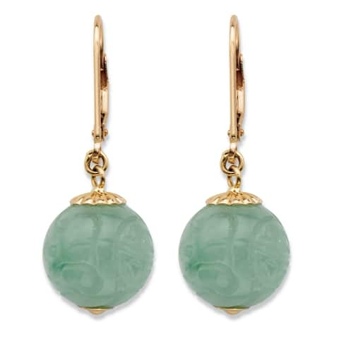 10K Yellow Gold Drop Earrings (12x12mm) Round Genuine Green Jade