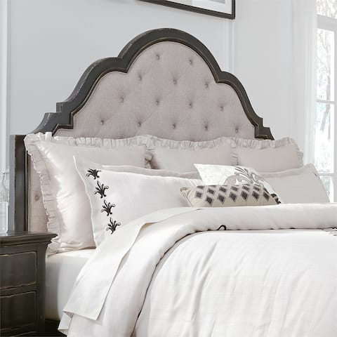 Chesapeake Wire Brushed Antique Black King Upholstered Headboard