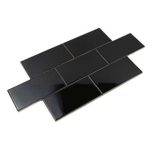 Giorbello Black Ceramic 3x6 Subway Tiles (Case of 14.5 Sq Ft)