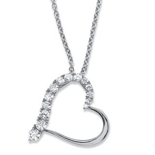 Sterling Silver Round Heart Pendant Cubic Zirconia (7/8 cttw TDW)