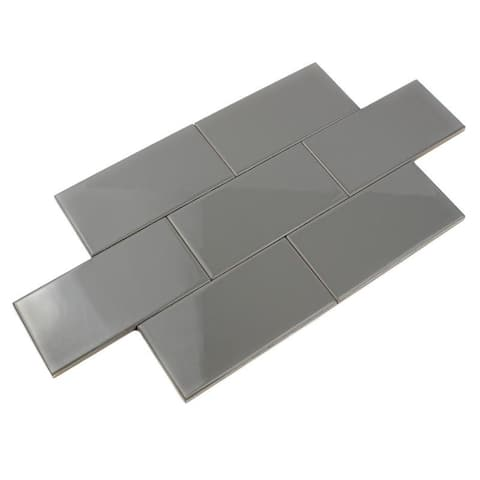 Giorbello Smoke Gray Ceramic 3x6 Subway Tiles (Case of 14.5 Sq Ft)