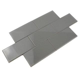 Giorbello Smoke Gray Ceramic 3x6 Subway Tiles (Case of 14.5 Sq Ft)