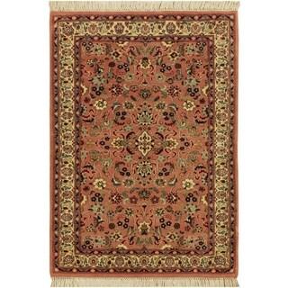 Abassi Afsha Pak-Persian Sanjuani Rose/Rose Wool Rug (2'7 x 4'2) - 2 ft. 7 in. x 4 ft. 2 in.