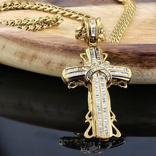 Men's 10K Gold Curb Chain and 1 1/2ct TDW Baguette Diamond Cross Necklace by Auriya