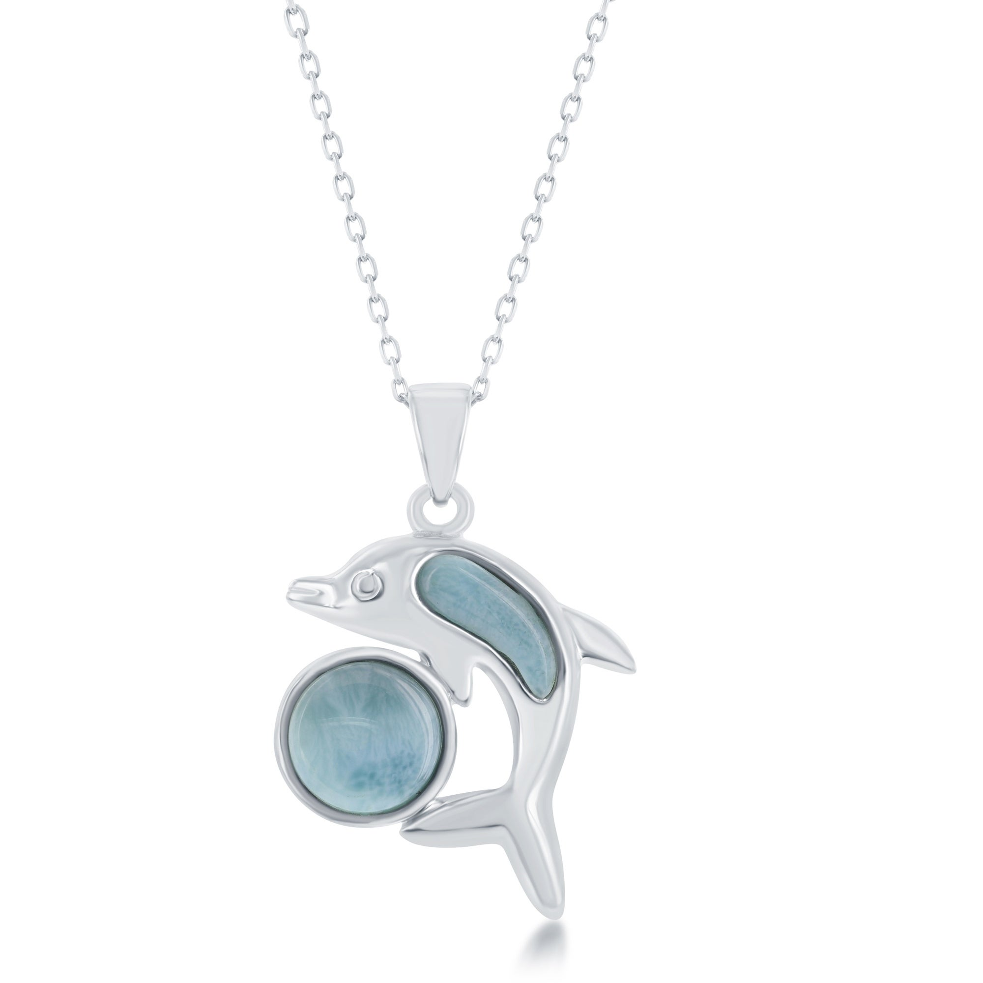 Rocks Rocks Sterling Silver Natural Larimar Pendant with 10mm Round Stone