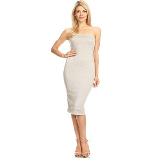 Women's Solid Lined Tube Top Body-Con Midi Dress