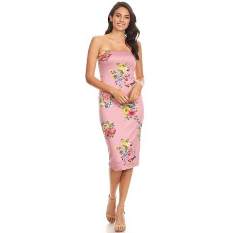 Women's Solid Lined Tube Top Body-Con Midi Dress