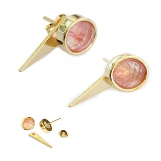 Sonia Hou Fire 3-Way Convertible 24K Gold Gemstone Ear Jacket Earrings