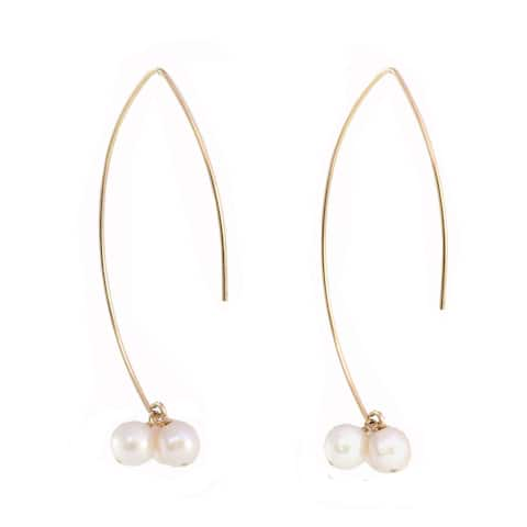 Sonia Hou Angel Genuine Crystal Pearls in 14K Gold Filled Thread Drop Dangle Earrings