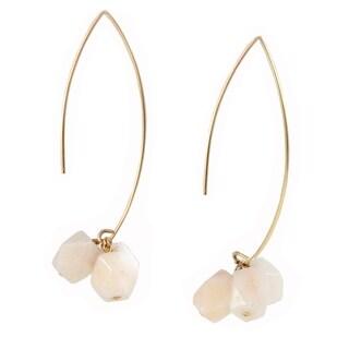 Sonia Hou Angel Ivory Gemstones In 14K Gold Filled Thread Drop Dangle Earrings