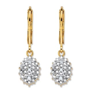 Yellow Gold-Plated Drop Earrings (10.5x7.5mm) Genuine Diamond Accent
