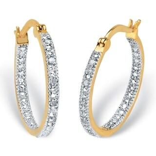 Yellow Gold-Plated Genuine Diamond Hoop Earrings (1/10 cttw)