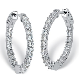 Sterling Silver Hoop Earrings (26mm) Cubic Zirconia (2 3/8 cttw TDW)