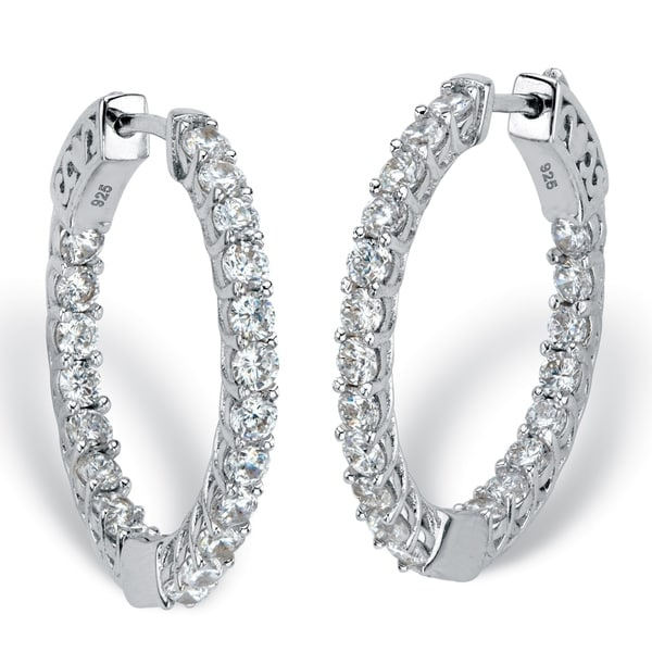 Sterling Silver Hoop Earrings 26mm Cubic Zirconia 2 3 8 Cttw Tdw Free Shipping On Orders Over 45 25674248