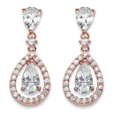Rose Gold-Plated Pear Drop Earrings Cubic Zirconia (4 3/4 cttw TDW)