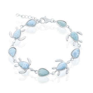 La Preciosa Sterling Silver High Polish Turtle & Pear-Shaped Natural Larimar Link Bracelet
