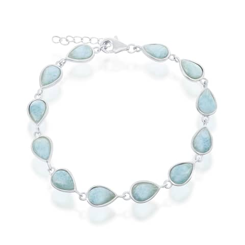 Sterling Silver High Polish Pear-Shaped Natural Larimar Link Bracelet