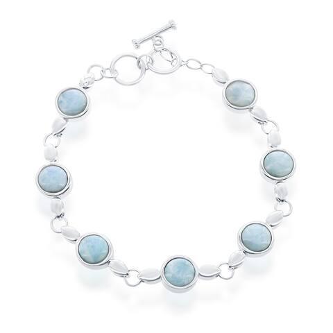 La Preciosa Sterling Silver High Polish Bezel-Set Oval or Round Natural Larimar Link Bracelet