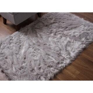 Silver Orchid Parrott Faux Fur Sheepskin Area Rug