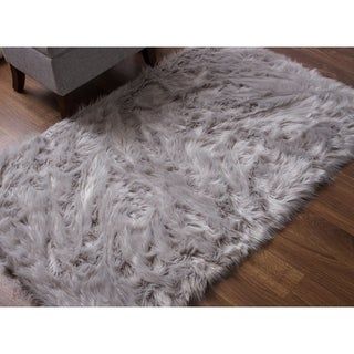 Link to Silver Orchid Parrott Faux Fur Sheepskin Area Rug Similar Items in Shag Rugs