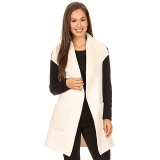 High Secret Women's Black Faux Fur Suede Vest Cardigan