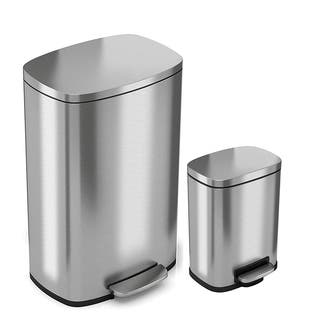 iTouchless SoftStep 13.2 Gal & 1.32 Gal Stainless Steel Step Trash Can Combo, Soft and Quiet Lid Close