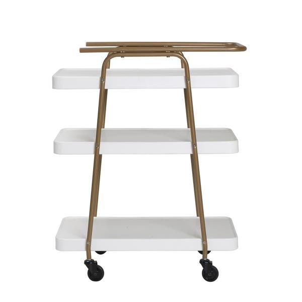 COSCO Stylaire 3 Tier Serving Cart White /& Gold