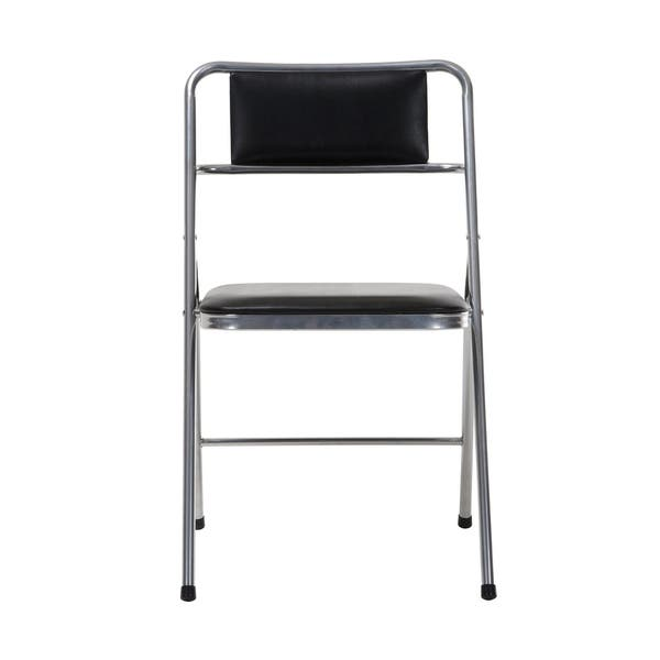 Peachy Shop Cosco Stylaire Silver And Black Vinyl Padded Folding Machost Co Dining Chair Design Ideas Machostcouk