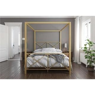 Link to Avenue Green Rosemarie Goldtone Metal Canopy Bed Similar Items in Bedroom Furniture